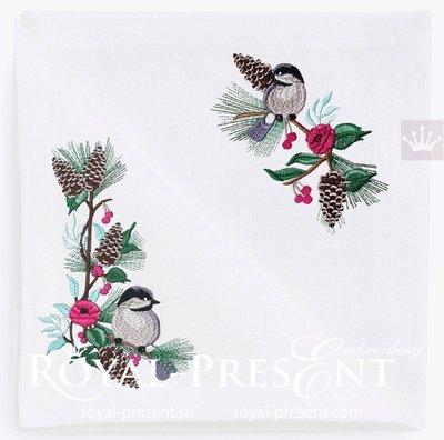 Зимние дизайны вышивки Синички на веточке