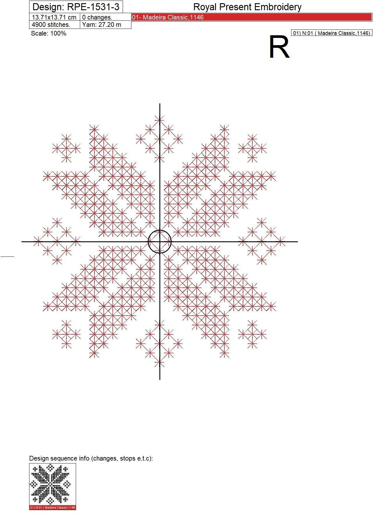 Норвежская Снежинка Дизайн машинной вышивки крестом бесплатно