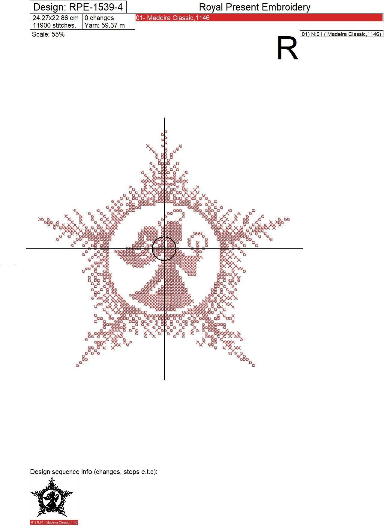 Рождественский Ангел Дизайн машинной вышивки крестом - 4 размера