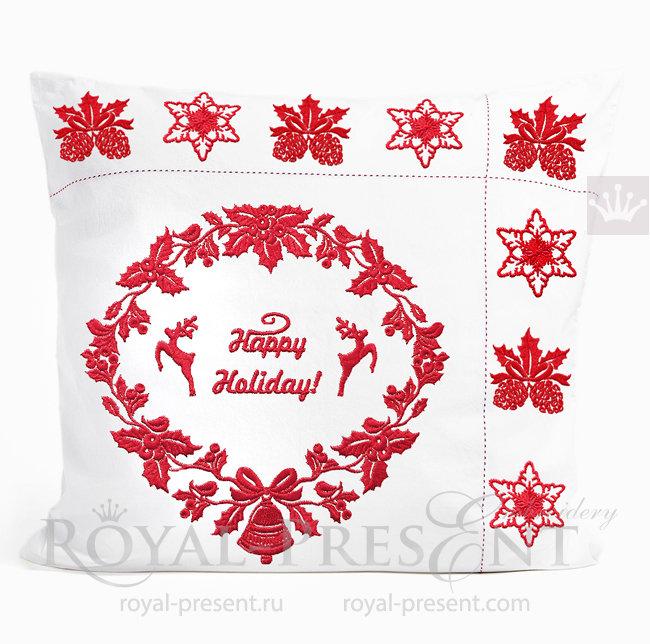 Набор дизайнов Новогодний венок с Оленями и декор шишки и снежинка RPE-1537-01