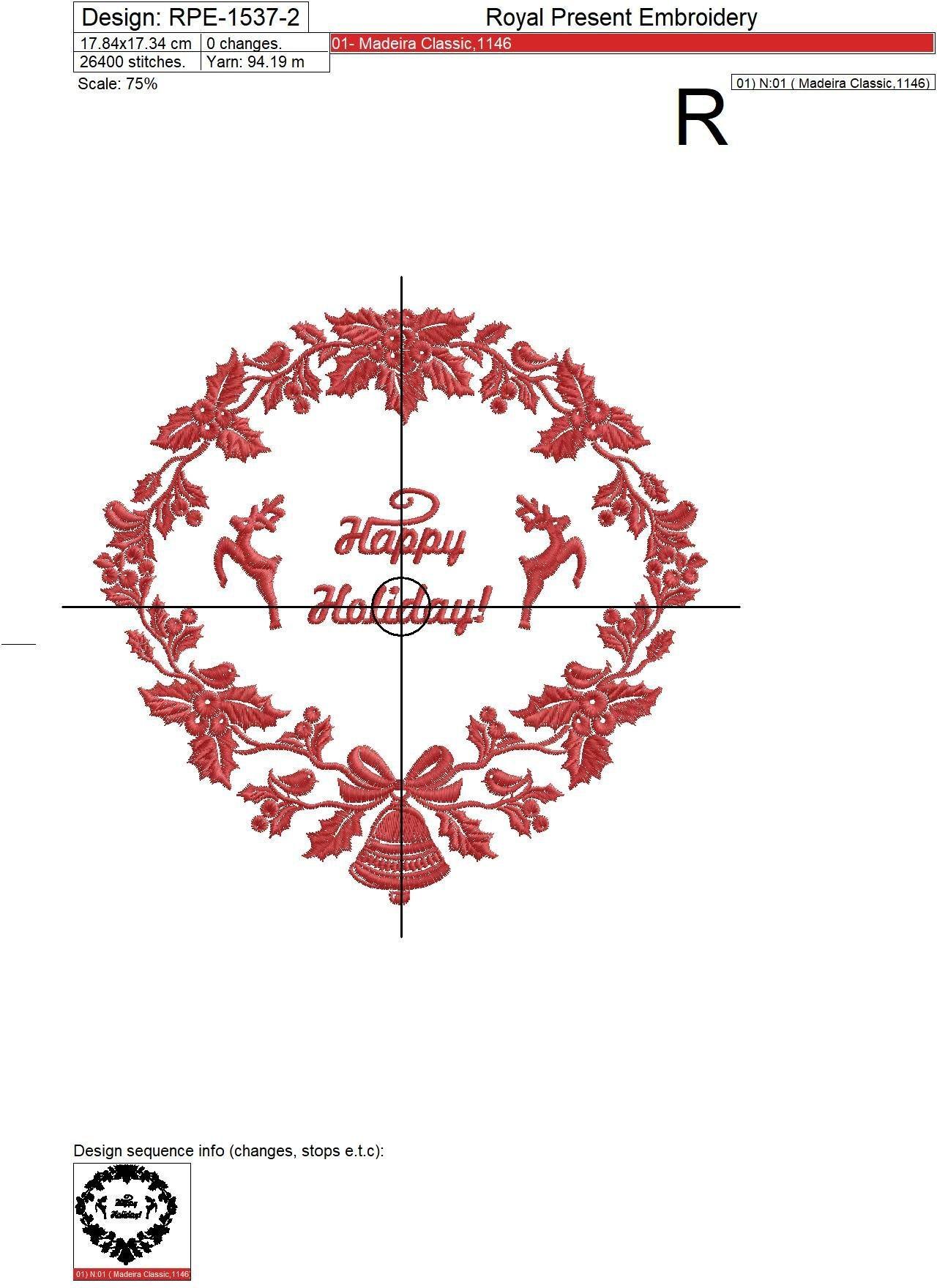 Дизайн машинной вышивки Новогодний венок с Оленями - 3 размера