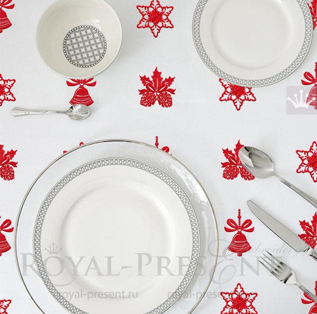 Новогодний Набор дизайнов машинной вышивки колокольчик, шишки, снежинка RPE-1537-2