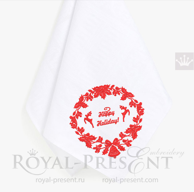 Дизайн машинной вышивки Новогодний венок с Оленями - 3 размера RPE-1537