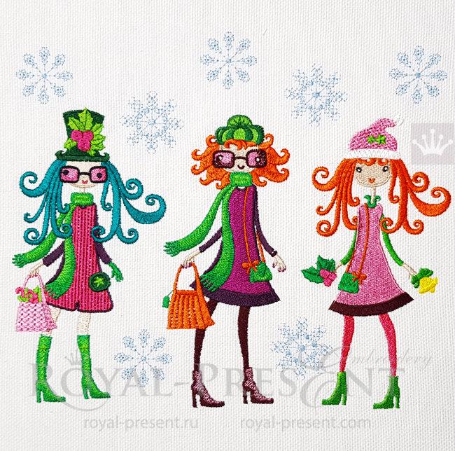Дизайны машинной вышивки Зимние Модные Девочки PRE-1541