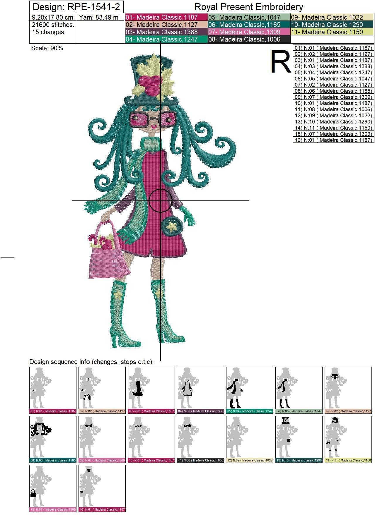 Дизайны машинной вышивки Зимние Модные Девочки