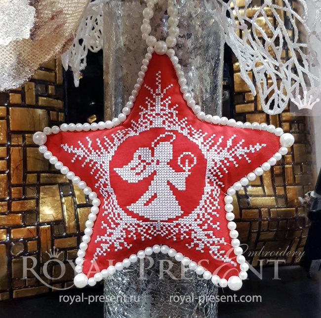 Рождественский Ангел Дизайн машинной вышивки крестом - 4 размера RPE-1539