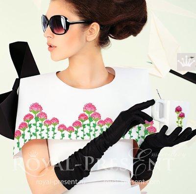 Дизайн машинной вышивки Бордюр из роз - 2 размера