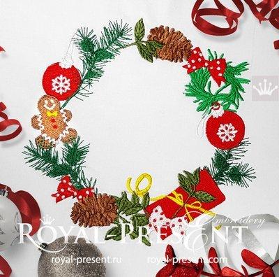 Дизайн машинной вышивки Новогодний венок с Пряником - 2 размера