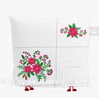 Дизайны машинной вышивки Букеты Пуансетий - 3 размера