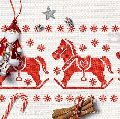 Дизайн машинной вышивки крестом Новогодняя Лошадка - 5 размеров