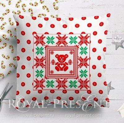 Дизайн машинной вышивки крестом Новогодний Мишка - 2 размера