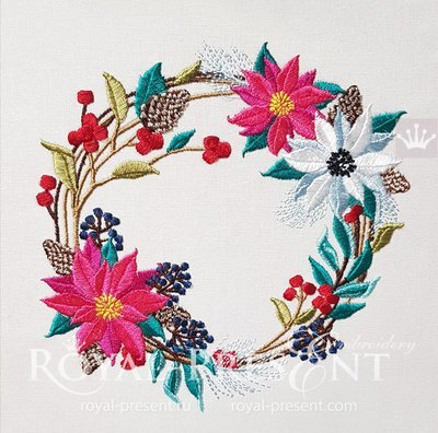 Дизайн машинной вышивки Новогодний венок с Пуансетиями - 3 размера