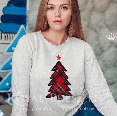 Аппликация для машинной вышивки Новогодняя Елка - 6 размеров
