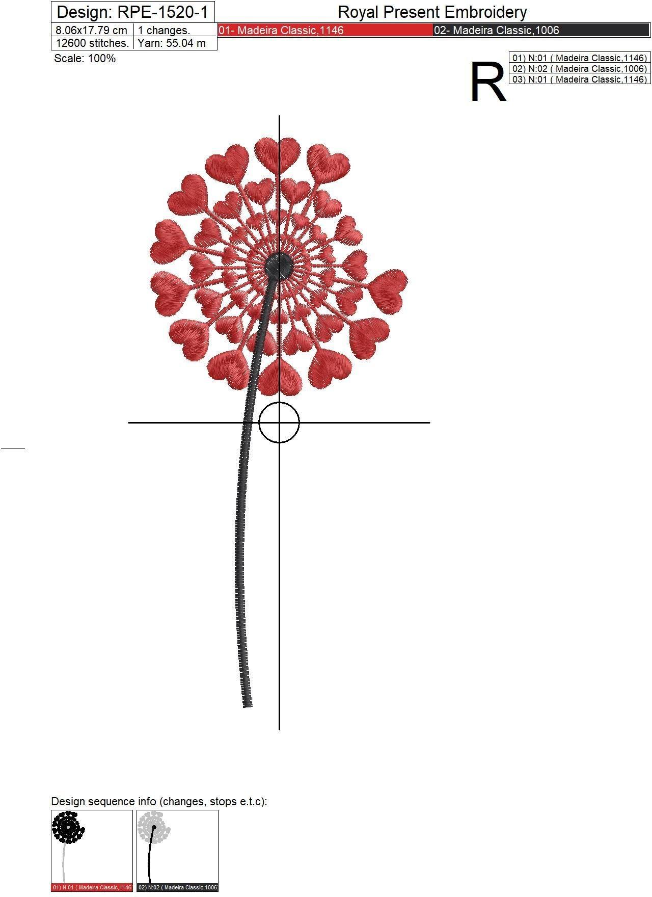 Набор дизайнов машинной вышивки Одуванчики - 3 в 1