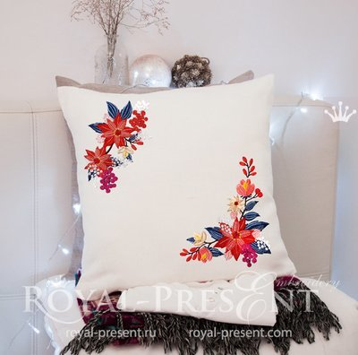Дизайны машинной вышивки Углы с Пуансетиями - 3 размера