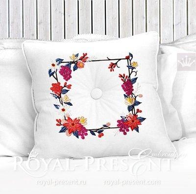 Дизайн машинной вышивки Орнамент с Пуансетиями - 5 размеров