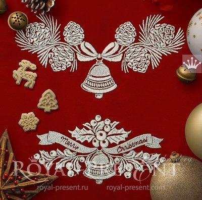 Новогодний Набор дизайнов вышивки Колокольчики - 2 размера