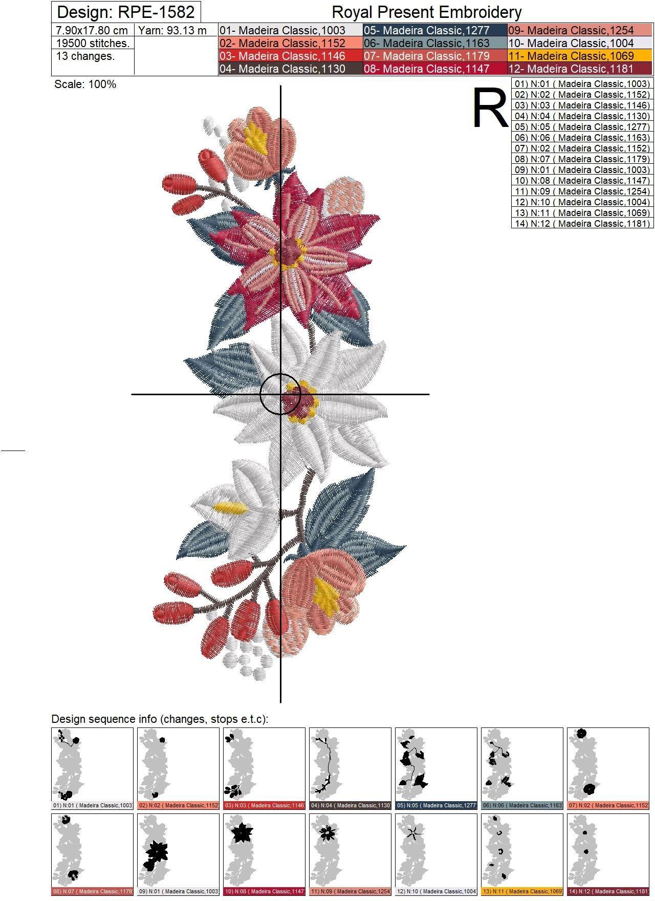 Дизайн машинной вышивки Бордюр с Пуансетиями - 2 размера