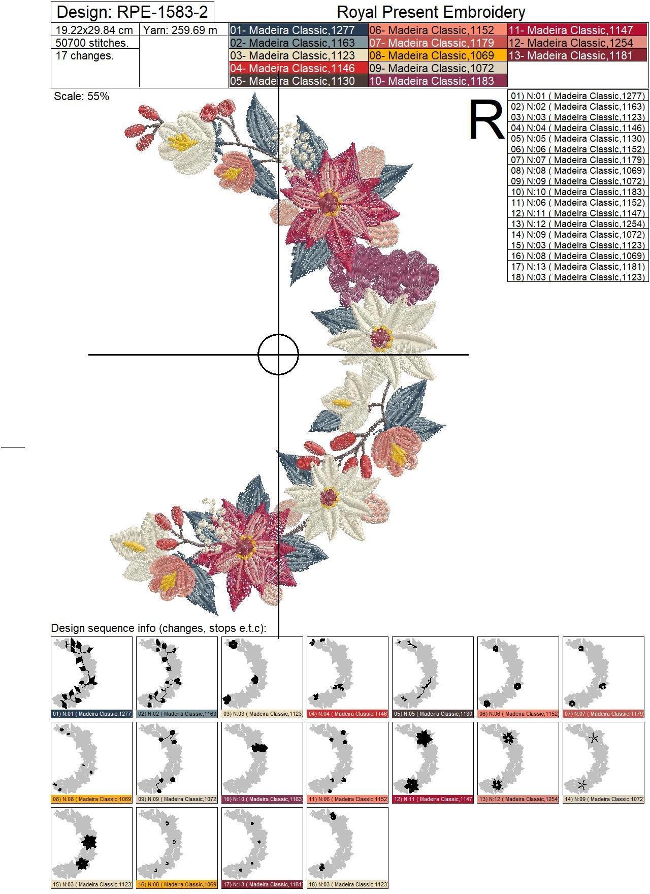 Дизайн машинной вышивки Обрамление с Пуансетиями - 2 размера