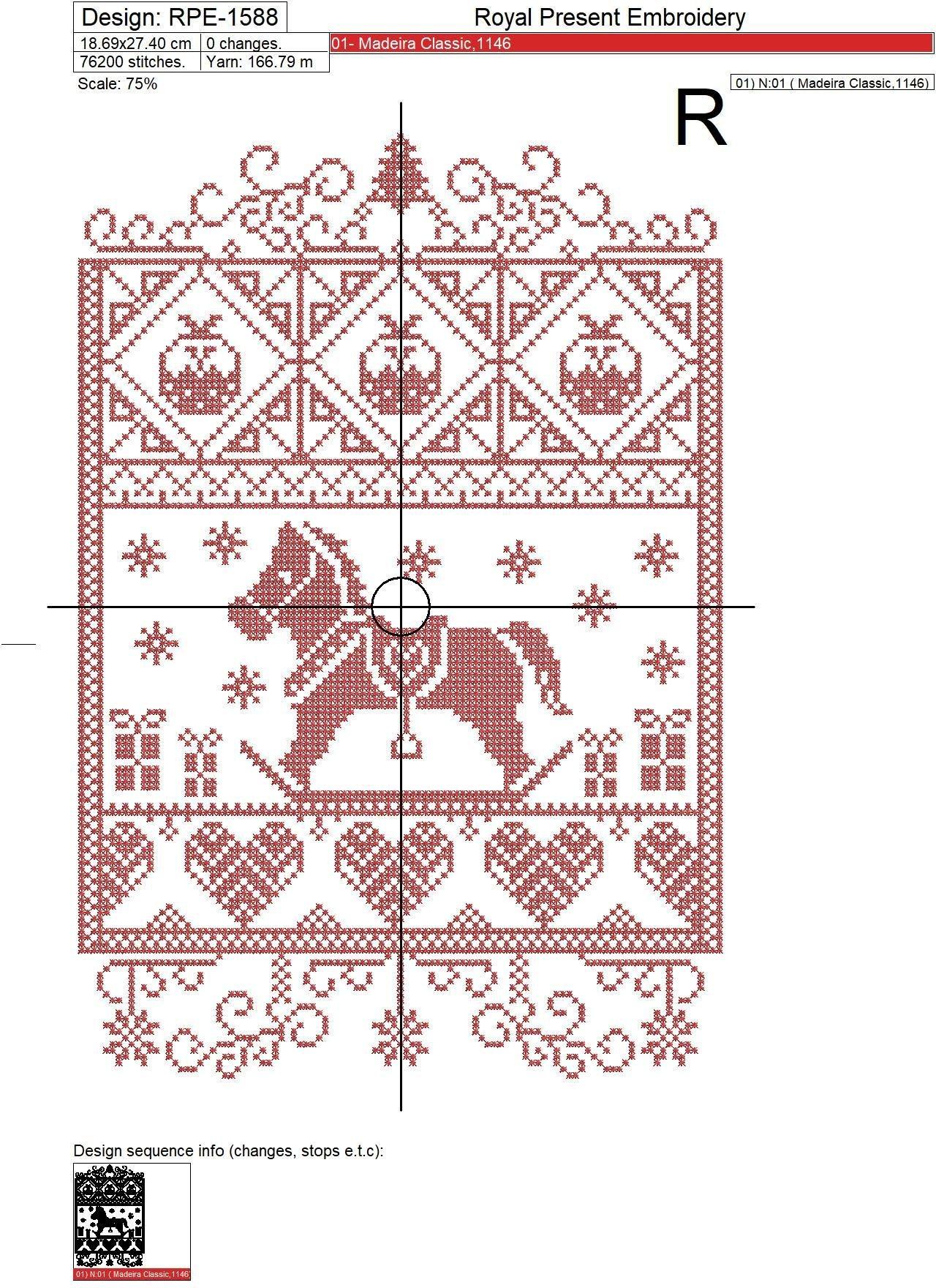 Рождественский Дизайн машинной вышивки крестом Лошадка - 4 размера