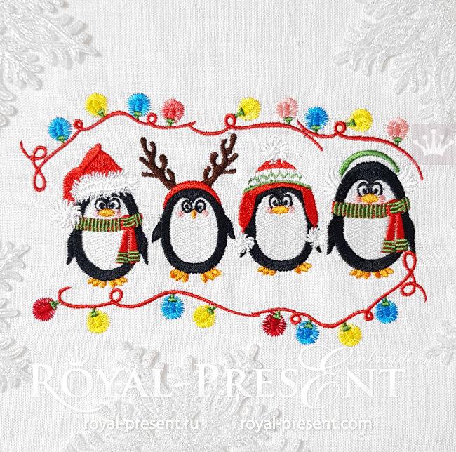 Дизайн машинной вышивки Рождественские Пингвины - 2 размера RPE-1587