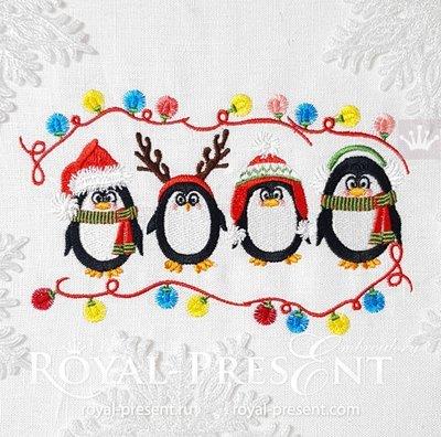 Дизайн машинной вышивки Рождественские Пингвины - 2 размера