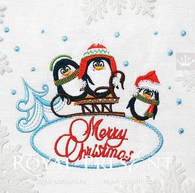 Дизайн машинной вышивки Пингвины с санками - 2 размера