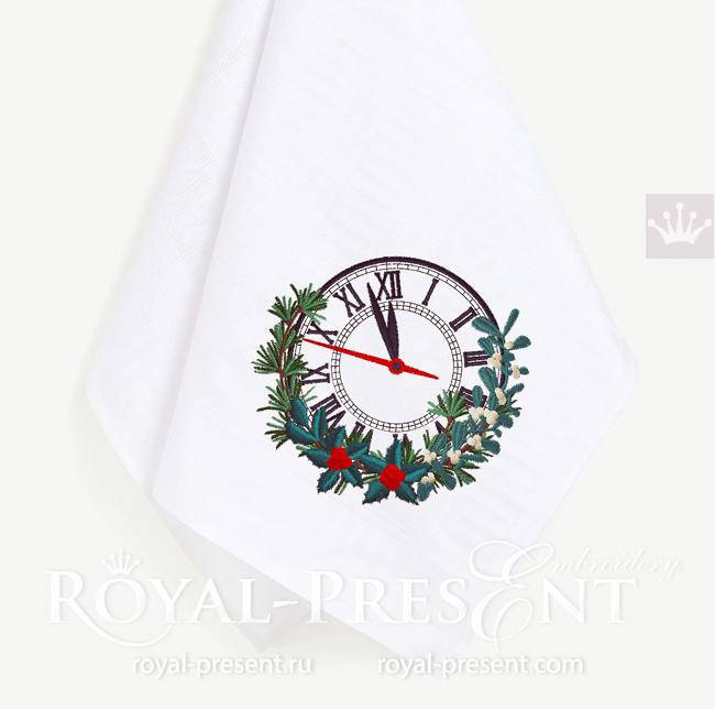 Дизайн машинной вышивки Новогодние Часы - 4 размера RPE-1590
