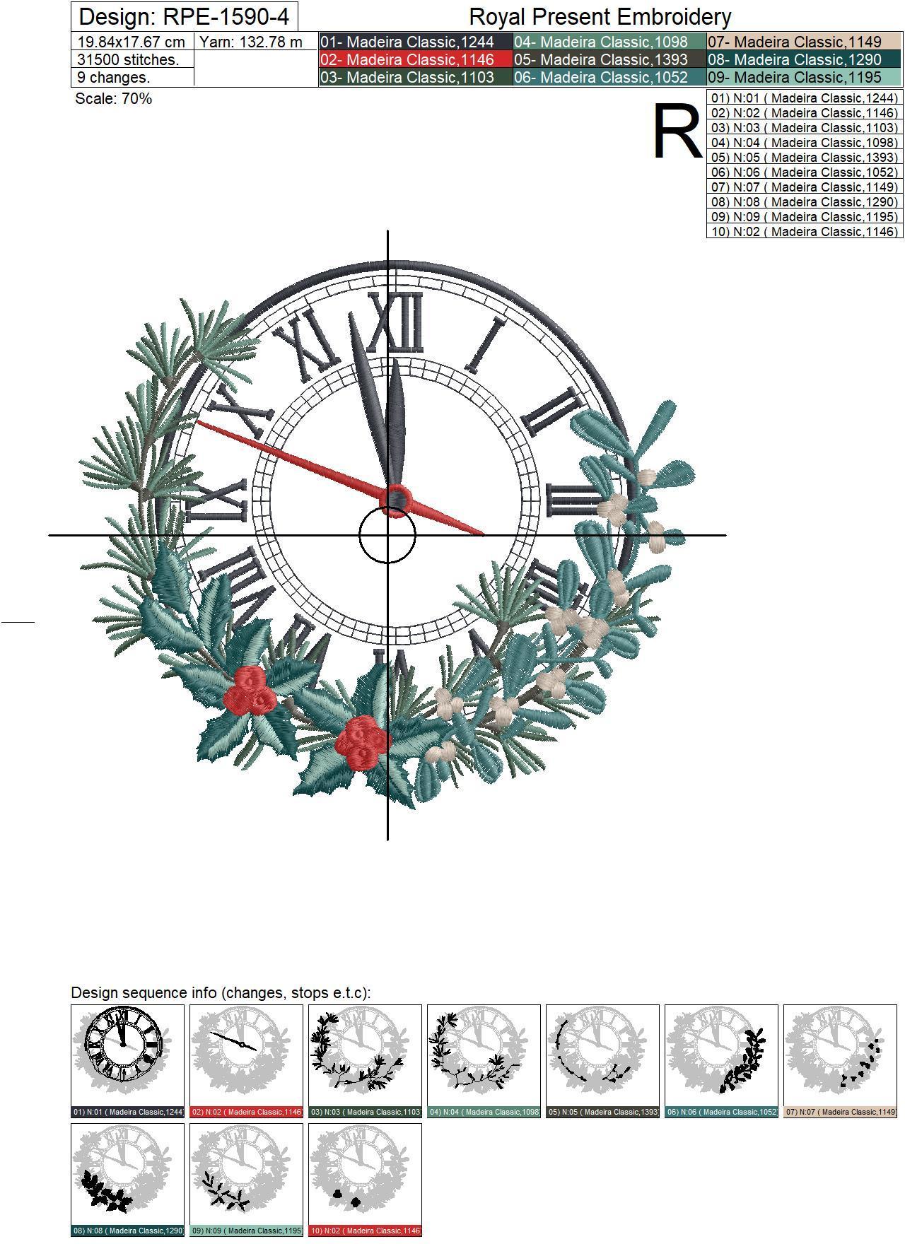 Дизайн машинной вышивки Новогодние Часы - 4 размера