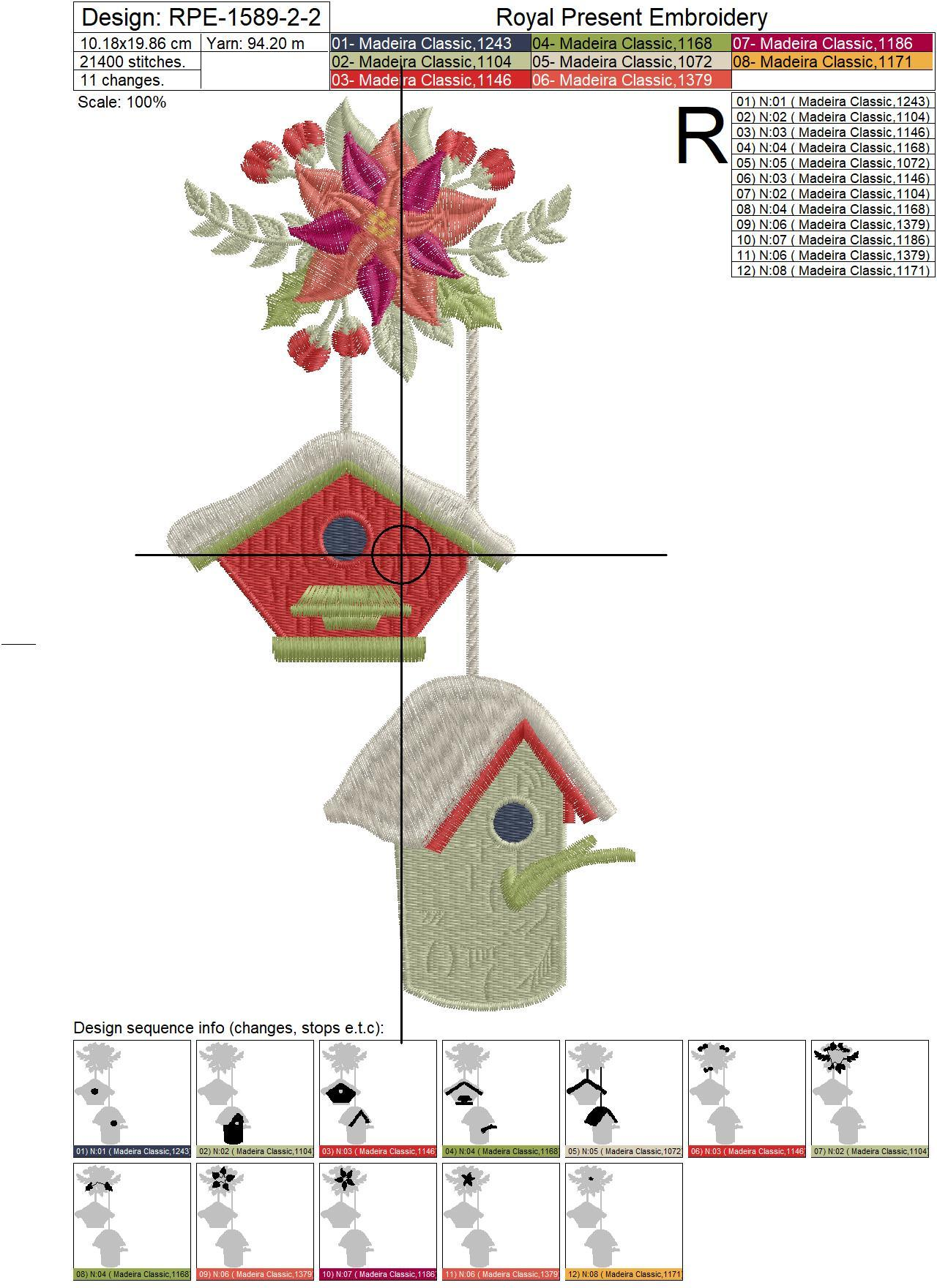 Дизайны машинной вышивки Новогодние Скворечники - 3 размера