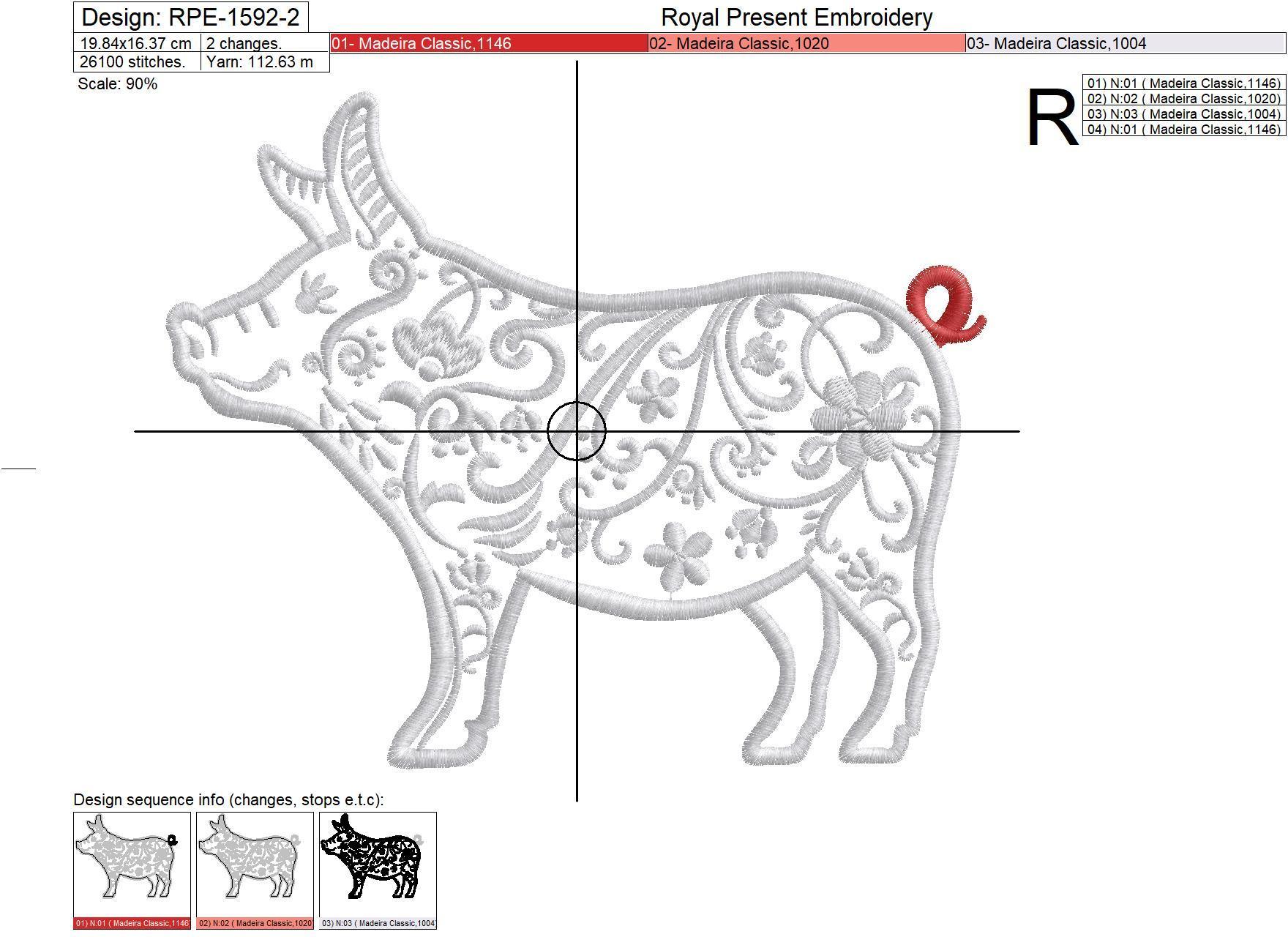 Аппликация для машинной вышивки Свинья - 4 размера