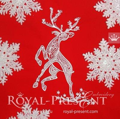 Дизайн машинной вышивки Рождественский Олень - 3 размера