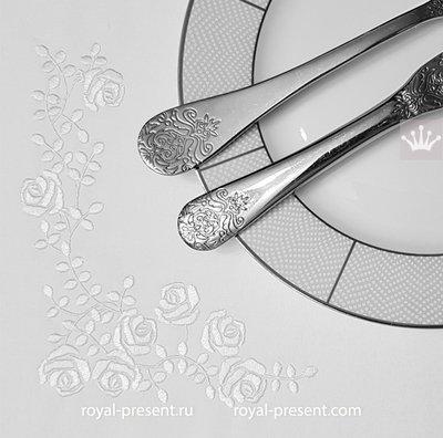 Угловой дизайн машинной вышивки Мини розы - 3 размера