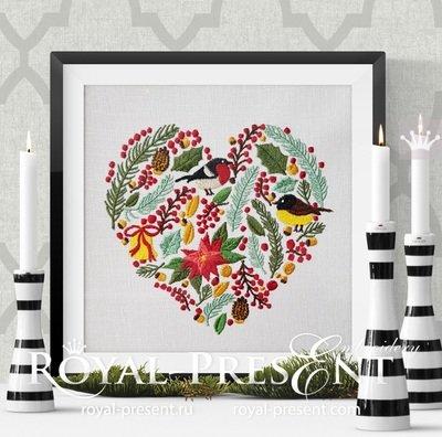 Дизайн вышивки Новогоднее Сердце - 6 размеров