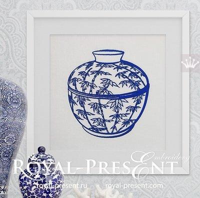 Дизайн машинной вышивки Китайская ваза - 2 размера