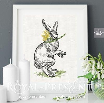 Винтажный Пасхальный Кролик дизайн вышивки - 7 размеров