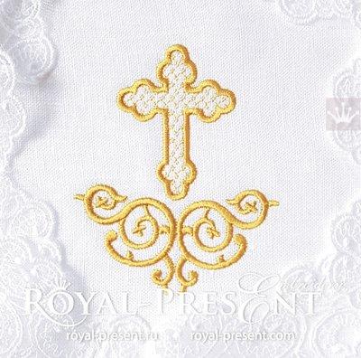 Дизайн машинной вышивки Крест с декором - 2 размера