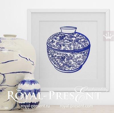 Китайская ваза Дизайн машинной вышивки - 2 размера