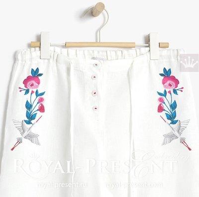 Дизайн машинной вышивки Японский журавль - 3 размера