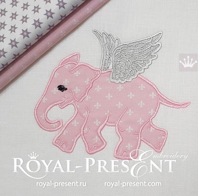 Аппликация для машинной вышивки Слоненок с крыльями - 5 размеров RPE-1626