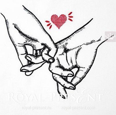 Дизайн машинной вышивки Влюбленные держатся за руки - 4 размера