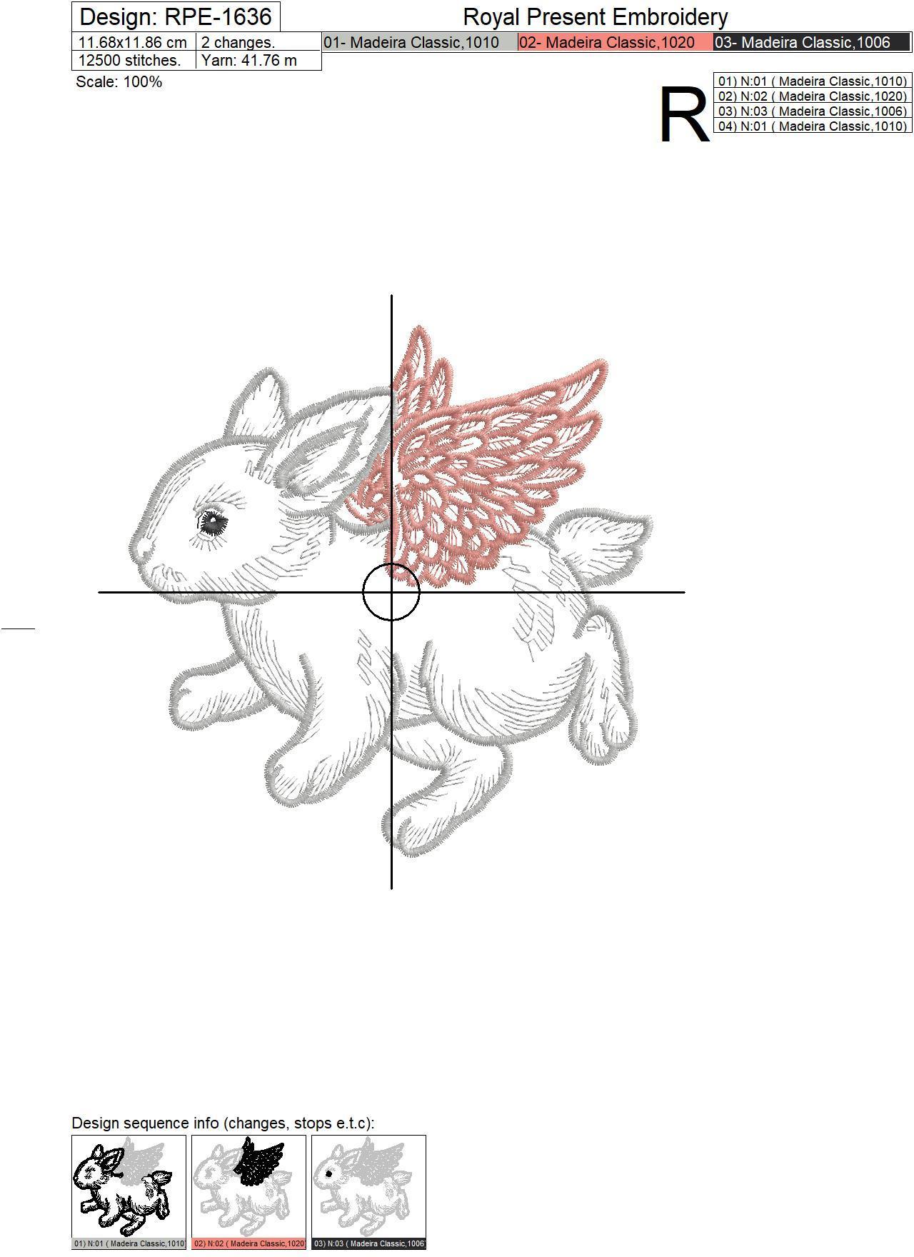 Дизайн машинной вышивки Зайчик Ангел - 4 размера
