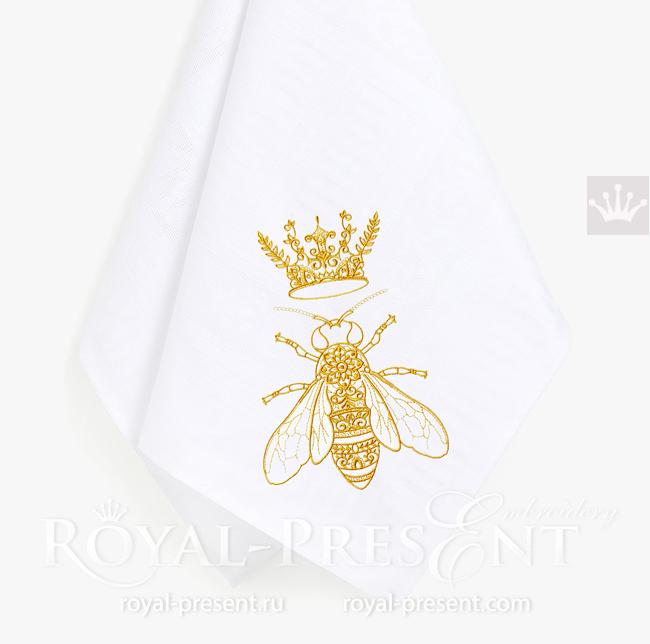 Дизайн вышивки Пчела с Короной - 5 размеров RPE-1639