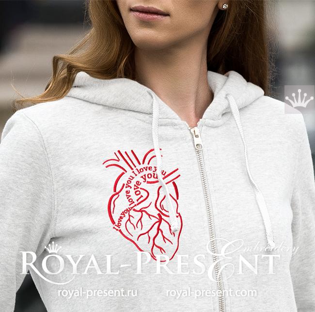 Сердце Дизайн машинной вышивки - 4 размера RPE-1635