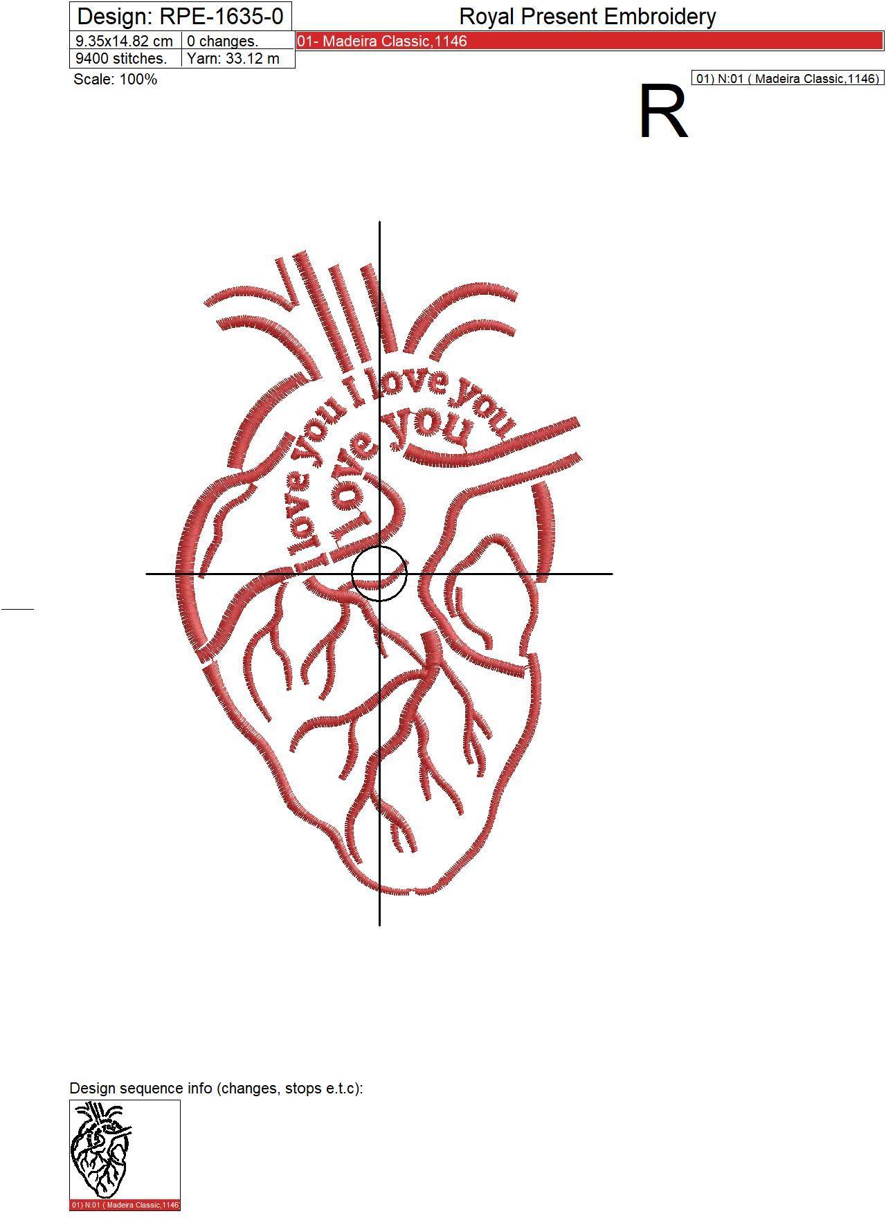 Сердце Дизайн машинной вышивки - 4 размера