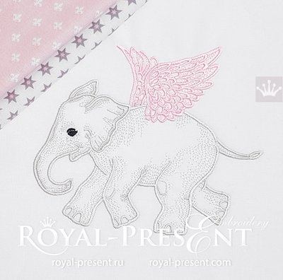 Дизайн машинной вышивки Слоненок Ангел - 3 размера