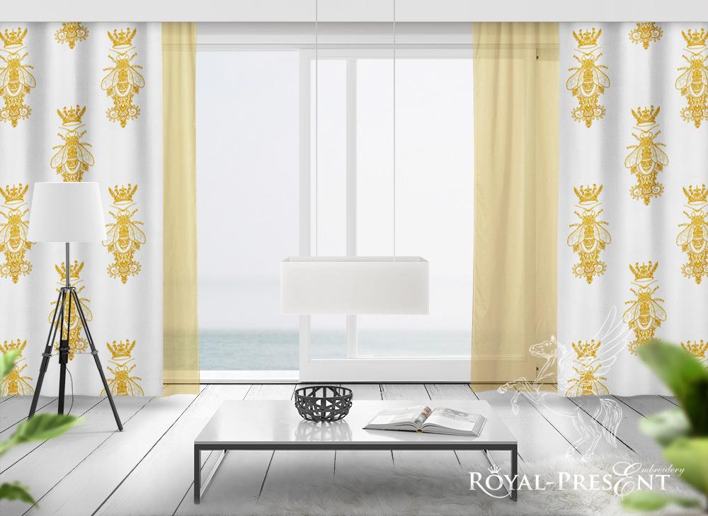 Орнаментальный дизайн вышивки Пчела с Короной - 5 размеров