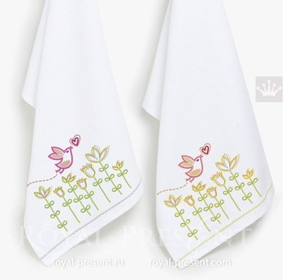 Дизайн машинной вышивки Птичка - 3 размера