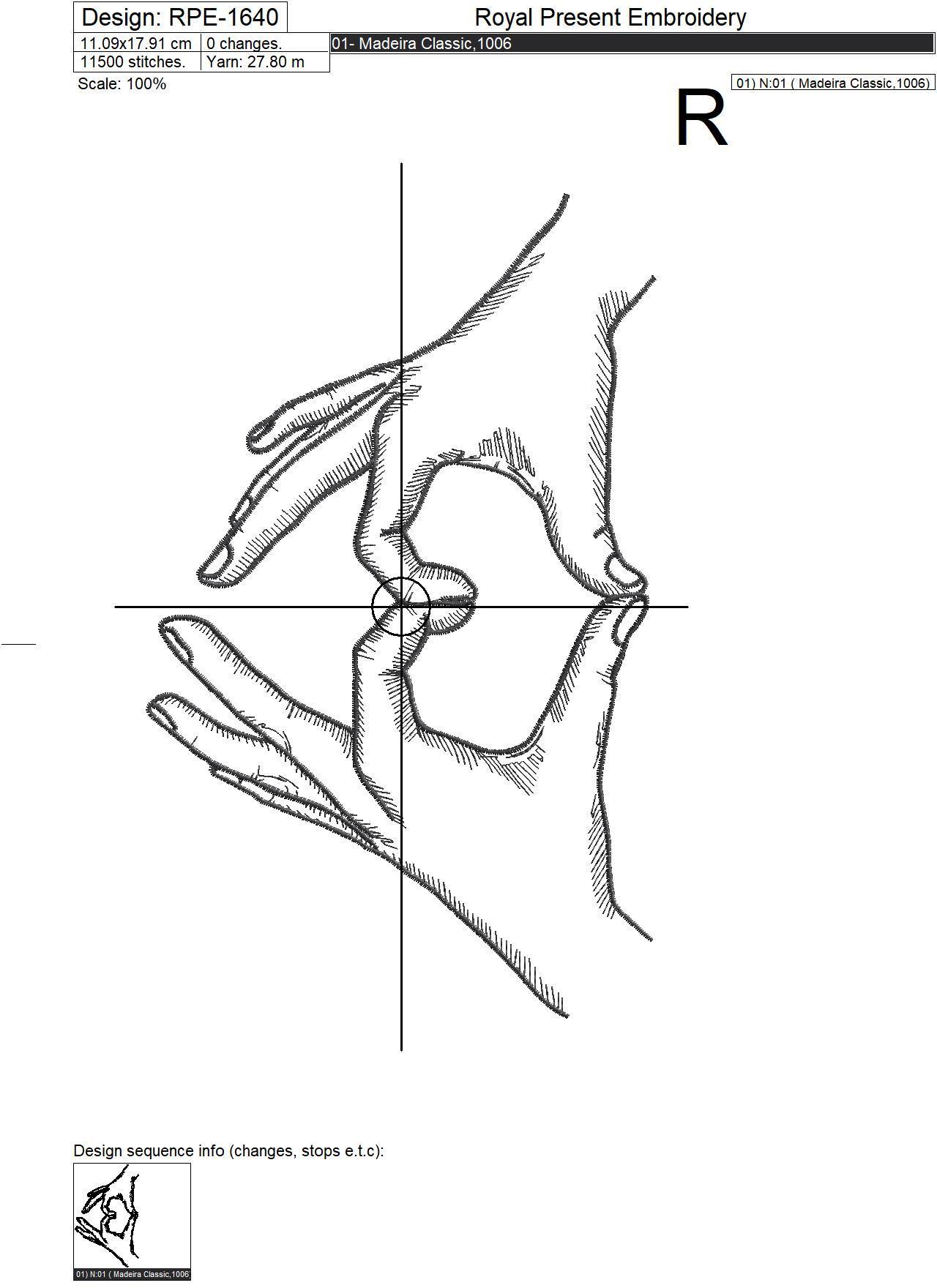 Дизайн машинной вышивки Руки в форме сердца - 3 размера