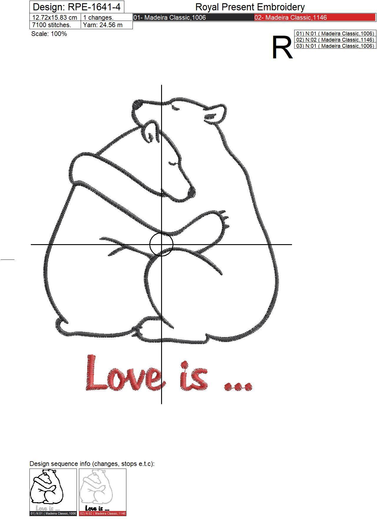 Дизайн машинной вышивки Влюбленные Белые Медведи - 7 размеров